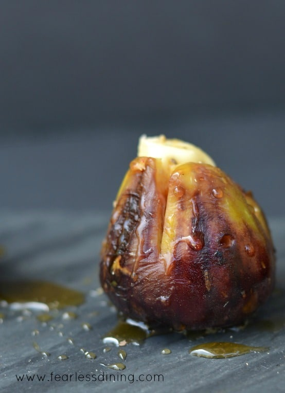 Figs single darkGrilled Brie Stuffed Figs with Honey http://fearlessdining.com #figs #stuffed figs #glutenfree