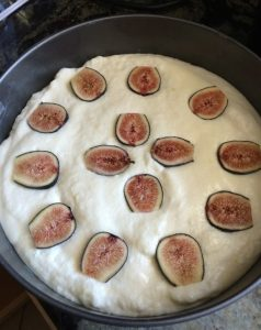 Fig cake batter with figs
