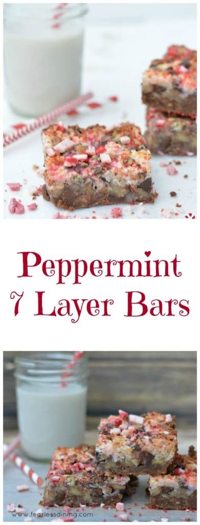 Peppermint 7 Layer Bars Gluten free http://fearlessdining.com