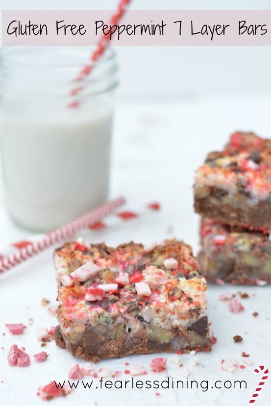 Gluten Free Peppermint 7 Layer Bars http://fearlessdining.com
