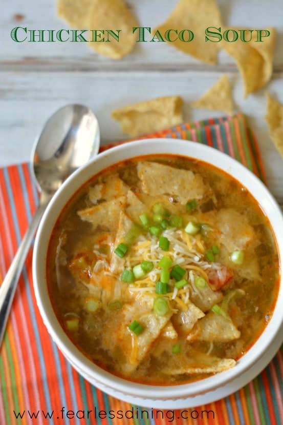 Shredded Chicken Taco Soup http://fearlessdining.com