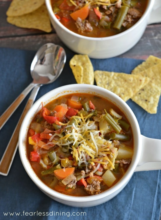 Country Hamburger Vegetable Soup http://fearlessdining.com