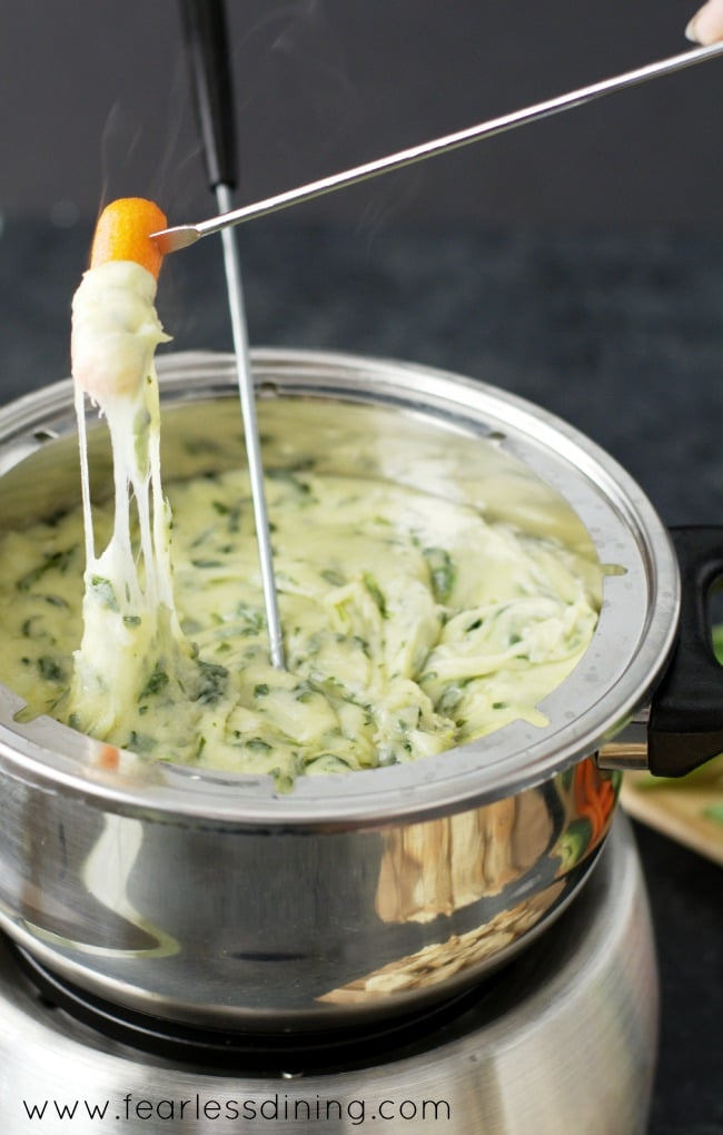 Gluten Free Spinach and Leek Cheese Fondue with a carrot dipped into the hot cheese