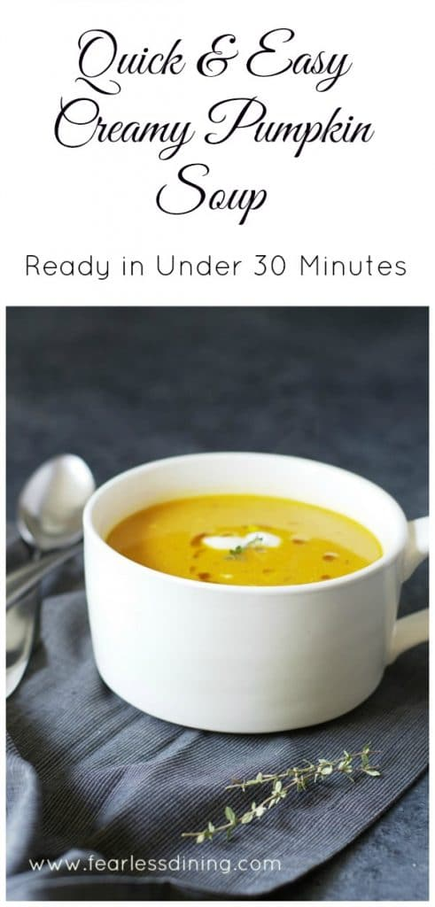 Quick and Easy Pumpkin Soup http://fearlessdining.com