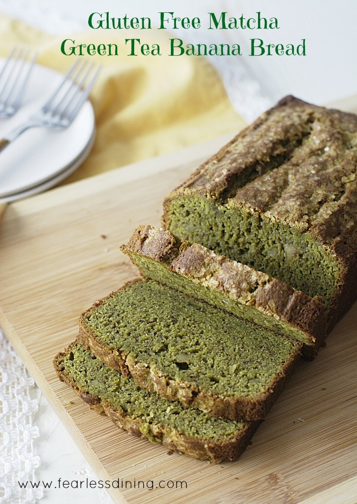 Gluten Free Matcha Green Tea Banana sliced on a cutting board