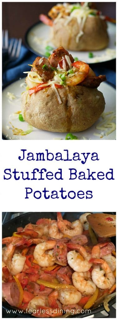 Jambalaya Stuffed Baked Potatoes are a spicy treat to celebrate Mardis Gras with. Found at http://fearlessdining.com