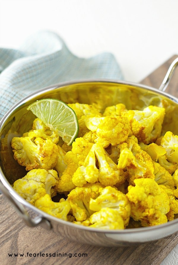 Curried Turmeric and Lime Cauliflower found at http://fearlessdining.com
