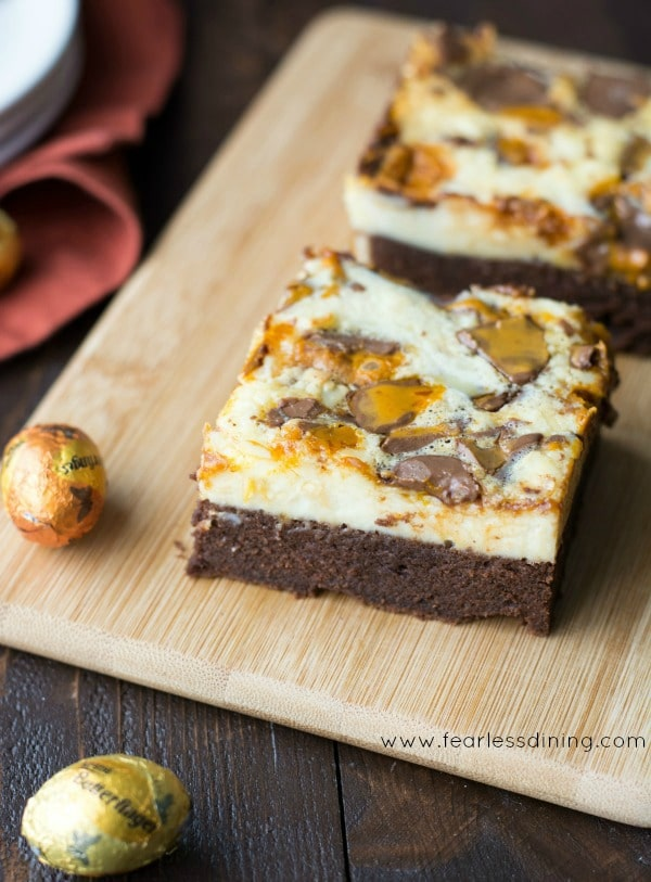 Gluten Free BUTTERFINGER® Cheesecake Brownie Bars with Easter egg chocolates