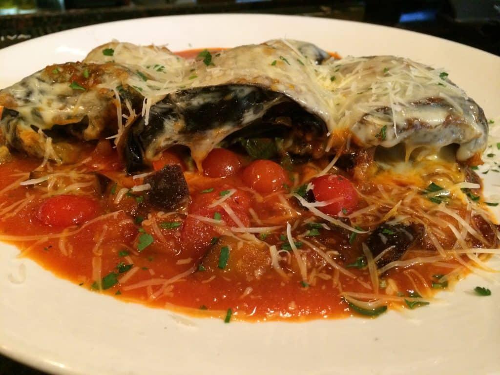 Gluten Free Eggplant Parmesan Roll Ups http://fearlessdining.com #glutenfree #Italianfood #eggplantrecipes