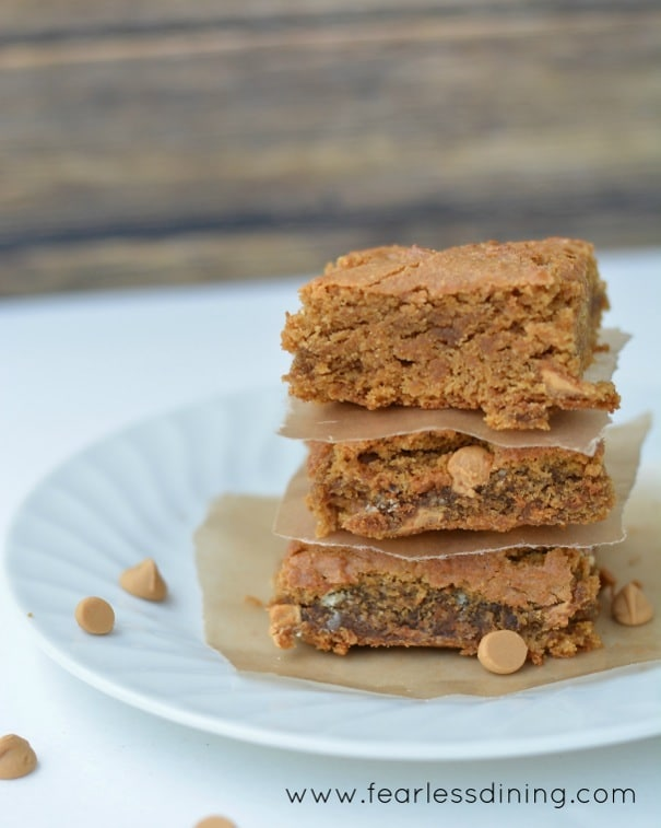 A stack of blondies with Peanut Butter Chips