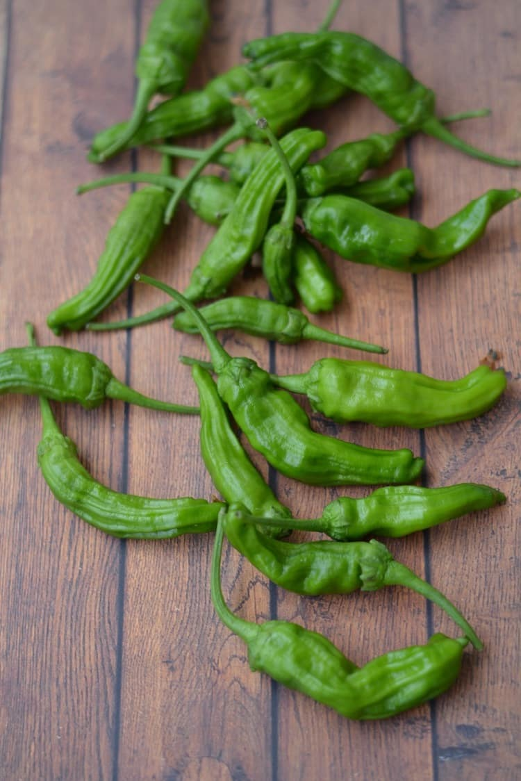 Shishito Peppers on a wooden table