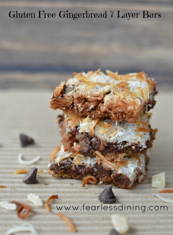 Gluten Free Gingerbread 7 Layer Bars http://fearlessdining.com