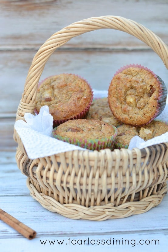 Paleo Pear Cinnamon Muffins in a basket