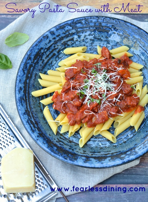 Savory Pasta Sauce with Meat http://fearlessdining.com