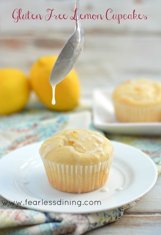 Gluten Free Lemon Cupcakes on a plate