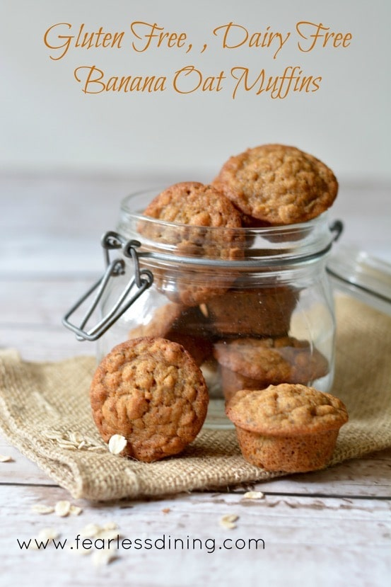 Gluten Free, Dairy Free Banana Oat Mini Muffins in a glass jar