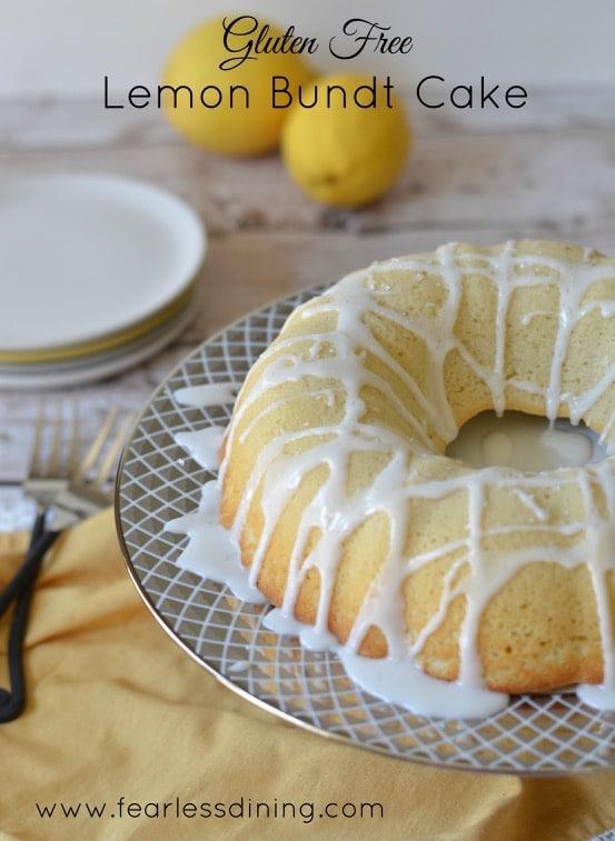 gluten free lemon bundt cake found with lemonade icing on top
