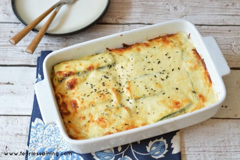 Gluten Free Zucchini Ribbon Lasagna Alfredo in a casserole dish