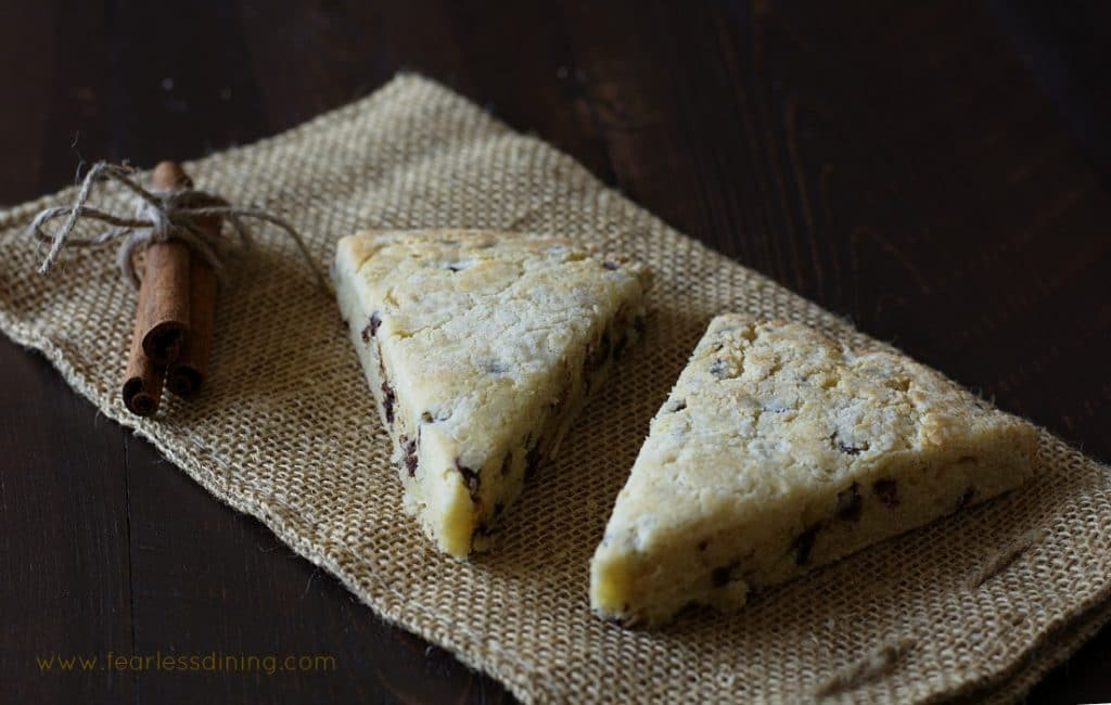 Gluten Free Eggnog Chocolate Chip Scones http://fearlessdining.com
