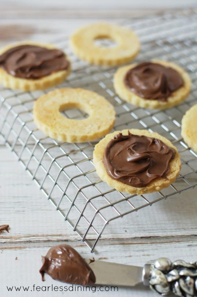 Gluten Free Nutella Linzer Cookies with nutella frosting
