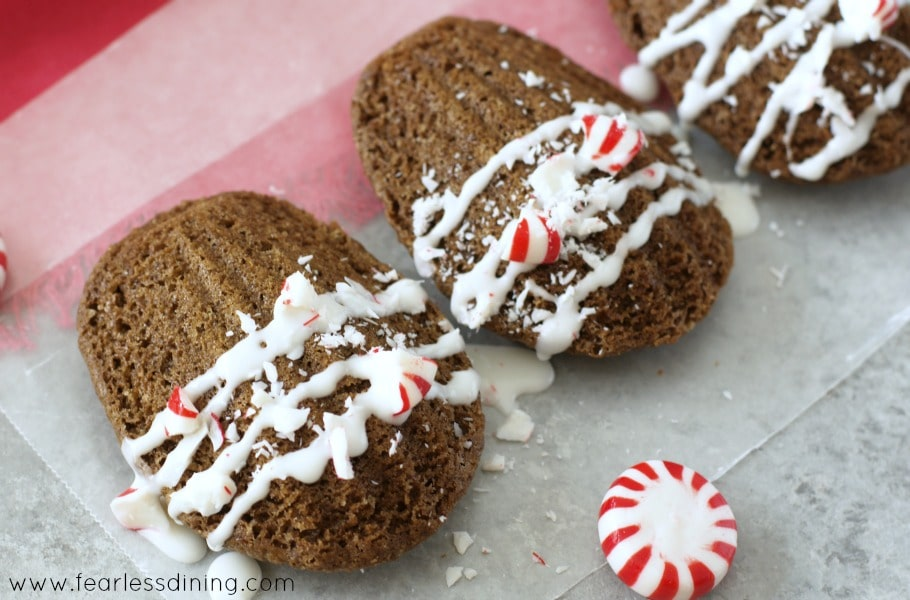 Gluten Free Peppermint Madeleines with peppermint candies