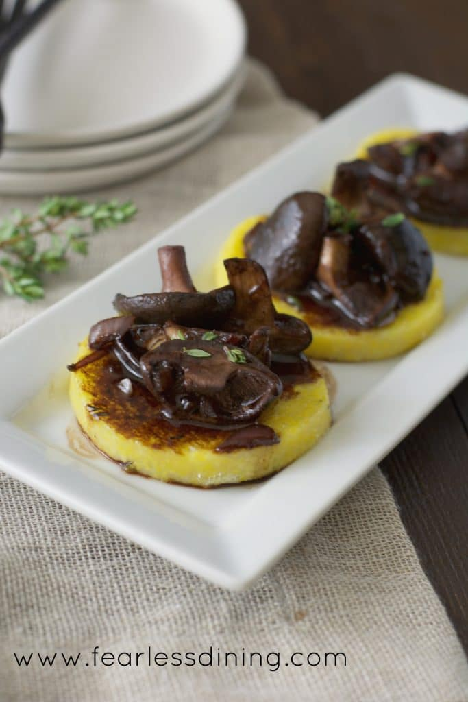 Shitake Mushrooms in a Red Wine Balsamic Glaze Over Polenta http://fearlessdining.com
