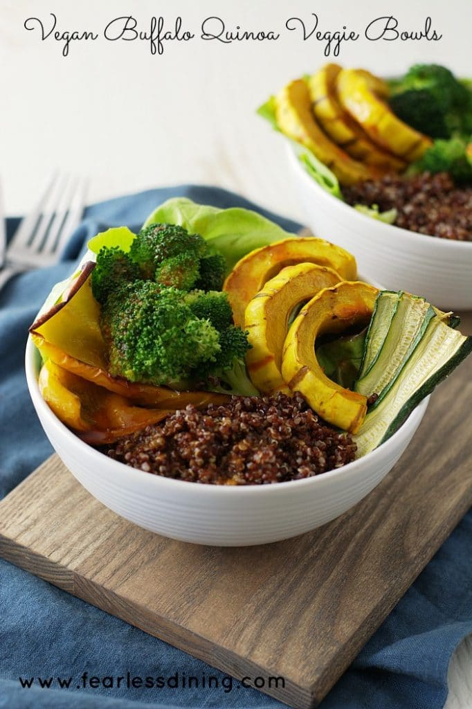 Vegan Buffalo Quinoa Vegetable Bowls found at http://fearlessdining.com