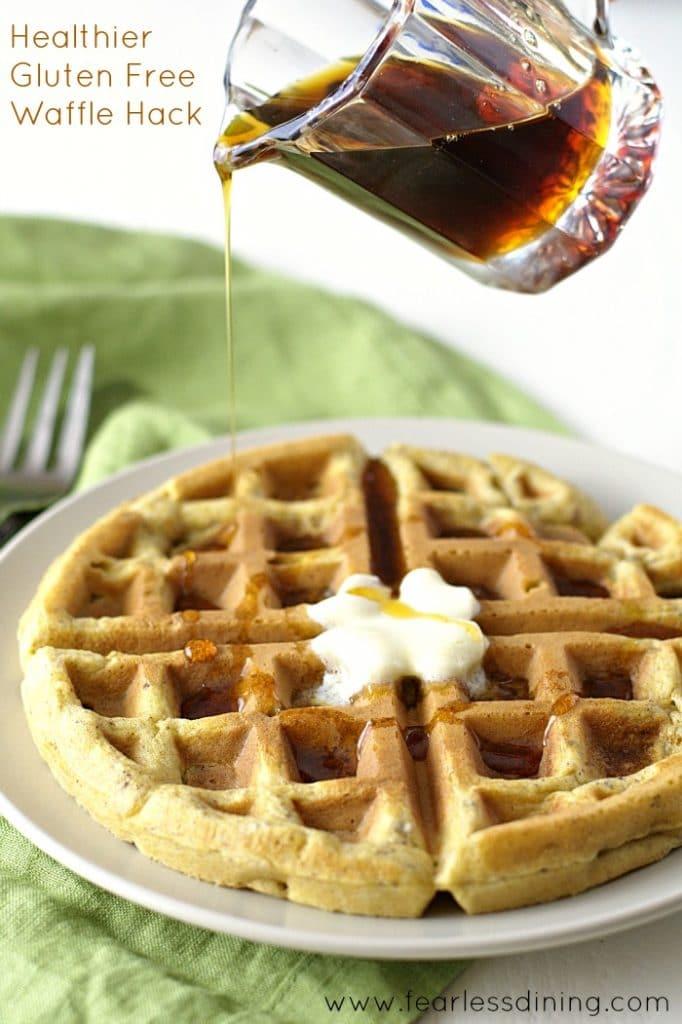 Healthier Gluten Free Waffle Hacks found at http://fearlessdining.com