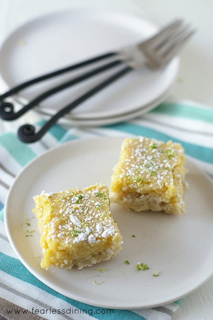 Gluten Free Lime Bars on a plate