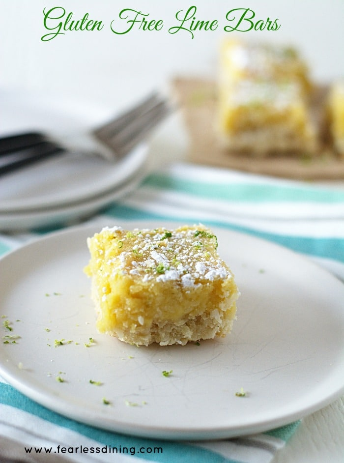 Gluten Free Lime Bar on a white plate