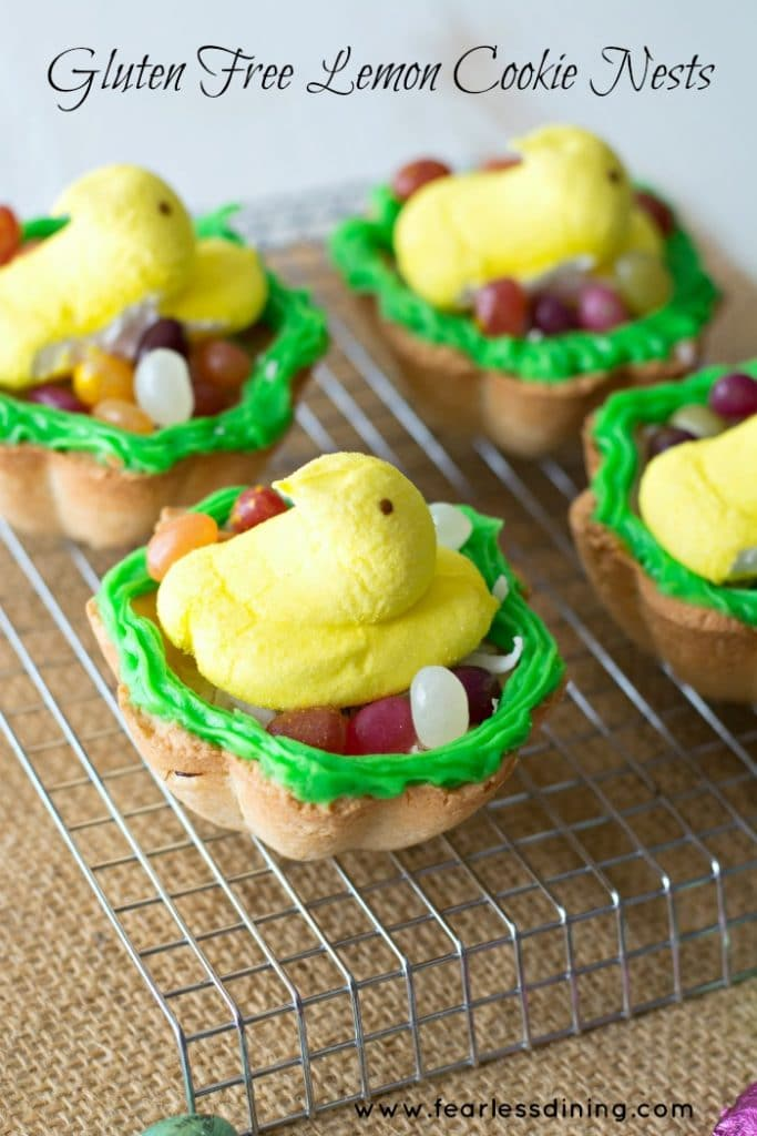 Gluten Free Lemon Cookie Baskets filled with jelly beans and marshmallow peeps